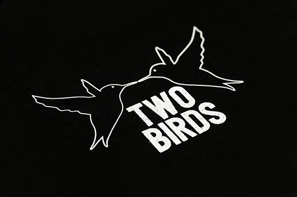 Two Birds Black Small Logo T-shirt Close Up