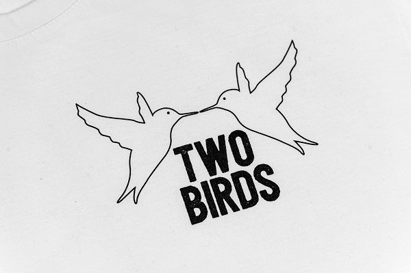 Two Birds White Small Logo T-shirt Close Up